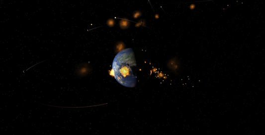 Earth Bombardment in Universe Sandbox